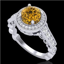 1.91 CTW Intense Fancy Yellow Diamond Engagement Art Deco Ring 18K White Gold - REF-263F6M - 37686