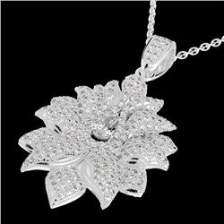 3 CTW Micro Pave VS/SI Diamond Certified Designer Necklace 18K White Gold - REF-347H3W - 22558