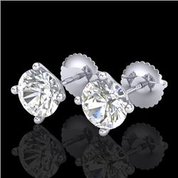 2 CTW VS/SI Diamond Solitaire Art Deco Stud Earrings 18K White Gold - REF-540W2H - 37304