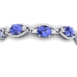 20.5 CTW Royalty Tanzanite & VS Diamond Bracelet 18K White Gold - REF-527F3M - 38967