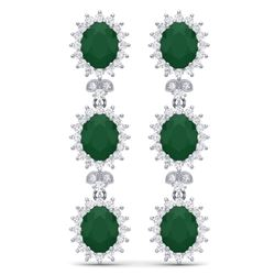 24.52 CTW Royalty Emerald & VS Diamond Earrings 18K White Gold - REF-436H4W - 38637