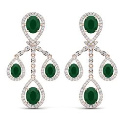 25.08 CTW Royalty Emerald & VS Diamond Earrings 18K Rose Gold - REF-490H9W - 38572