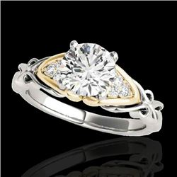 1.1 CTW H-SI/I Certified Diamond Solitaire Ring Two Tone 10K White & Yellow Gold - REF-161K8R - 3520