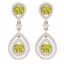 3.9 CTW Fancy Yellow SI Diamond Earrings 18K Rose Gold - REF-336X4T - 39118