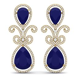 31.6 CTW Royalty Sapphire & VS Diamond Earrings 18K Yellow Gold - REF-400X2T - 39548