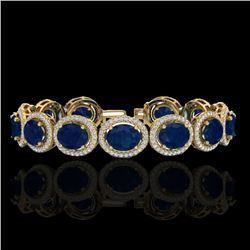 30 CTW Sapphire & Micro Pave VS/SI Diamond Certified Bracelet 10K Yellow Gold - REF-410R9K - 22698