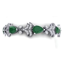 24.8 CTW Royalty Emerald & VS Diamond Bracelet 18K White Gold - REF-472M8F - 38730