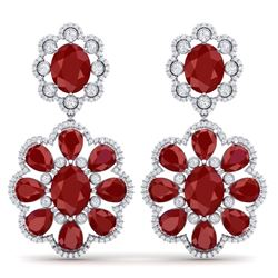 33.88 CTW Royalty Designer Ruby & VS Diamond Earrings 18K White Gold - REF-472M8F - 39156