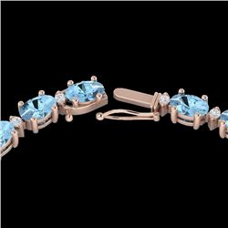 24 CTW Aquamarine & VS/SI Diamond Certified Eternity Tennis Necklace 10K Rose Gold - REF-243R5K - 21