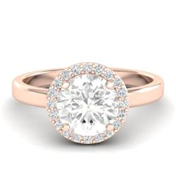 1.75 CTW VS/SI Diamond Certified Pave Ring Bridal 14K Rose Gold - REF-526N8Y - 21638