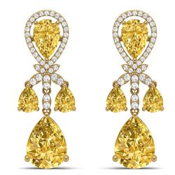 35.67 CTW Royalty Canary Citrine & VS Diamond Earrings 18K Yellow Gold - REF-290F9M - 38618