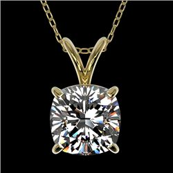 1.25 CTW Certified VS/SI Quality Cushion Cut Diamond Necklace 10K Yellow Gold - REF-367F3M - 33219