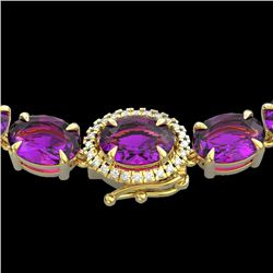 72 CTW Amethyst & VS/SI Diamond Tennis Micro Pave Halo Necklace 14K Yellow Gold - REF-281N8Y - 23451