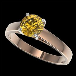 1.29 CTW Certified Intense Yellow SI Diamond Solitaire Ring 10K Rose Gold - REF-231H8W - 36544
