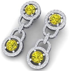 4 CTW Si/I Fancy Yellow And White Diamond Earrings 18K White Gold - REF-271M4F - 40109