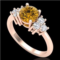 1.5 CTW Intense Fancy Yellow Diamond Solitaire Classic Ring 18K Rose Gold - REF-218Y2N - 37603