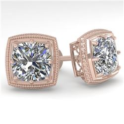 2.0 CTW VS/SI Cushion Cut Diamond Stud Earrings Deco 14K Rose Gold - REF-512T8X - 29786
