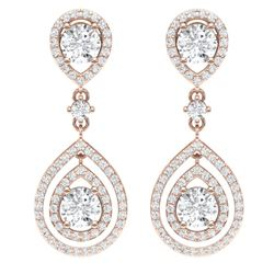 3.53 CTW Royalty Designer VS/SI Diamond Earrings 18K Rose Gold - REF-418F2M - 39109