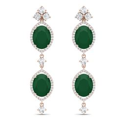 15.81 CTW Royalty Emerald & VS Diamond Earrings 18K Rose Gold - REF-309X3T - 38905