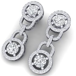 4 CTW Certified SI/I Diamond Halo Earrings 18K White Gold - REF-271X4T - 40103