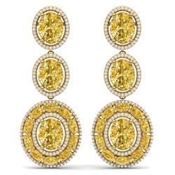 29.71 CTW Royalty Canary Citrine & VS Diamond Earrings 18K Yellow Gold - REF-354W5H - 39272