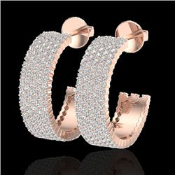 4.50 CTW Micro Pave VS/SI Diamond Certified Earrings 14K Rose Gold - REF-292Y5N - 20173