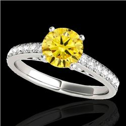 1.5 CTW Certified Si Fancy Intense Yellow Diamond Solitaire Ring 10K White Gold - REF-172R8K - 34869