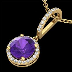 2 CTW Amethyst & Micro Pave VS/SI Diamond Necklace Designer Halo 18K Yellow Gold - REF-54H8W - 23191