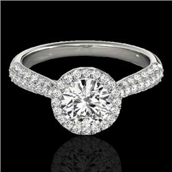 1.4 CTW H-SI/I Certified Diamond Solitaire Halo Ring 10K White Gold - REF-170F4M - 33298
