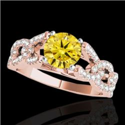 1.5 CTW Certified Si Fancy Intense Yellow Diamond Solitaire Ring 10K Rose Gold - REF-180K2R - 35222