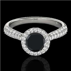 1.4 CTW Certified Vs Black Diamond Solitaire Halo Ring 10K White Gold - REF-63W5H - 33301