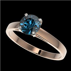 1.06 CTW Certified Intense Blue SI Diamond Solitaire Engagement Ring 10K Rose Gold - REF-140F4M - 36