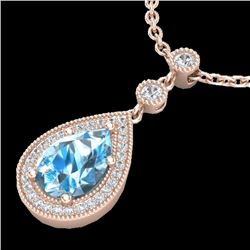 2.25 CTW Sky Blue Topaz & Micro Pave VS/SI Diamond Necklace 14K Rose Gold - REF-38T2X - 23143
