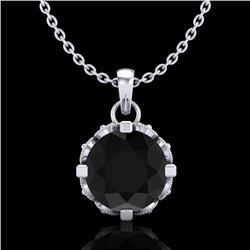 1.14 CTW Fancy Black Diamond Solitaire Art Deco Stud Necklace 18K White Gold - REF-81Y8N - 37373