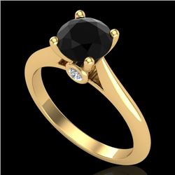 1.36 CTW Fancy Black Diamond Solitaire Engagement Art Deco Ring 18K Yellow Gold - REF-89W3H - 38208