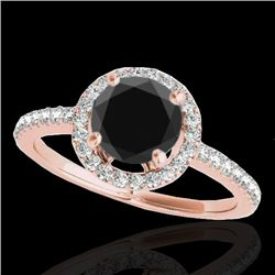 1.4 CTW Certified Vs Black Diamond Solitaire Halo Ring 10K Rose Gold - REF-61T8X - 34100