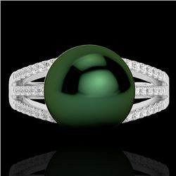 0.30 CTW Micro Pave VS/SI Diamond Certified & Peacock Pearl Ring 18K White Gold - REF-51Y8N - 22628