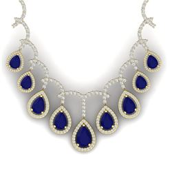 31.5 CTW Royalty Sapphire & VS Diamond Necklace 18K Yellow Gold - REF-854H5W - 39353