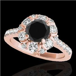 2.05 CTW Certified Vs Black Diamond Solitaire Halo Ring 10K Rose Gold - REF-100X2T - 33913