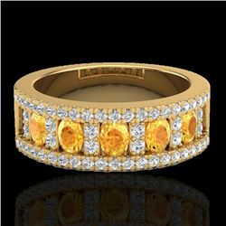 2 CTW Citrine & Micro VS/SI Diamond Certified Inspired Ring 10K Yellow Gold - REF-60F2M - 20823