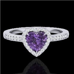 1 CTW Amethyst & Micro Pave Ring Heart Halo 14K White Gold - REF-33R6K - 21400