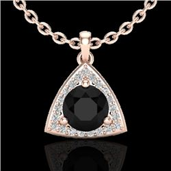 1.75 CTW Micro Pave Halo VS/SI Diamond Certified Necklace 14K Rose Gold - REF-59T6X - 20518