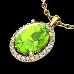 2.50 CTW Peridot & Micro Pave VS/SI Diamond Necklace Halo 18K Yellow Gold - REF-51Y3N - 21086