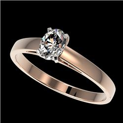 0.50 CTW Certified VS/SI Quality Oval Diamond Engagement Ring 10K Rose Gold - REF-77W6H - 32963