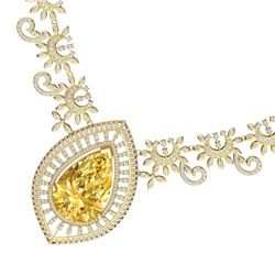 53.17 CTW Royalty Canary Citrine & VS Diamond Necklace 18K Yellow Gold - REF-1309M3F - 39788