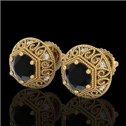 1.31 CTW Fancy Black Diamond Solitaire Art Deco Stud Earrings 18K Yellow Gold - REF-81W8H - 37557