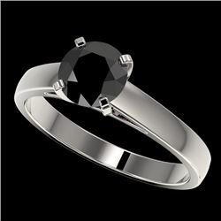 1.25 CTW Fancy Black VS Diamond Solitaire Engagement Ring 10K White Gold - REF-39W5H - 33003