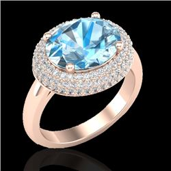 5 CTW Sky Blue Topaz & Micro Pave VS/SI Diamond Certified Ring 14K Rose Gold - REF-90W2H - 20907