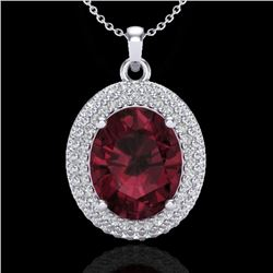 4.50 CTW Garnet & Micro Pave VS/SI Diamond Certified Necklace 18K White Gold - REF-96W5H - 20565