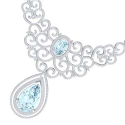 89.32 CTW Royalty Sky Topaz & VS Diamond Necklace 18K White Gold - REF-1563F6M - 39845